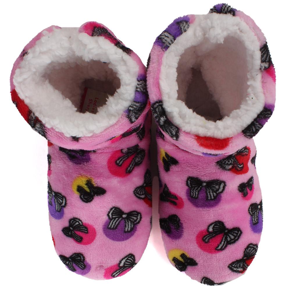 Carnival Ladies Super Soft Non Slip Sole Printed Sherpa Slipper Boots No Size