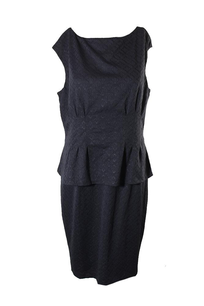 American Living Black Cap Sleeve Peplum Sheath Dress 8 889041558325