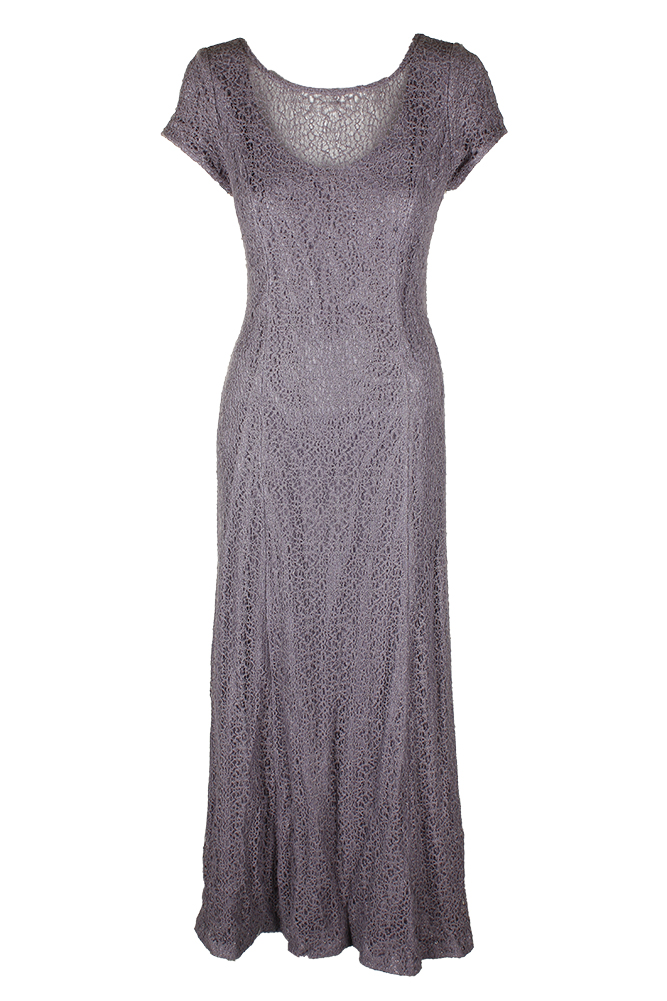 Alex Evenings Amethyst lila Short-Sleeve Illusion Glitter Lace Gown 14