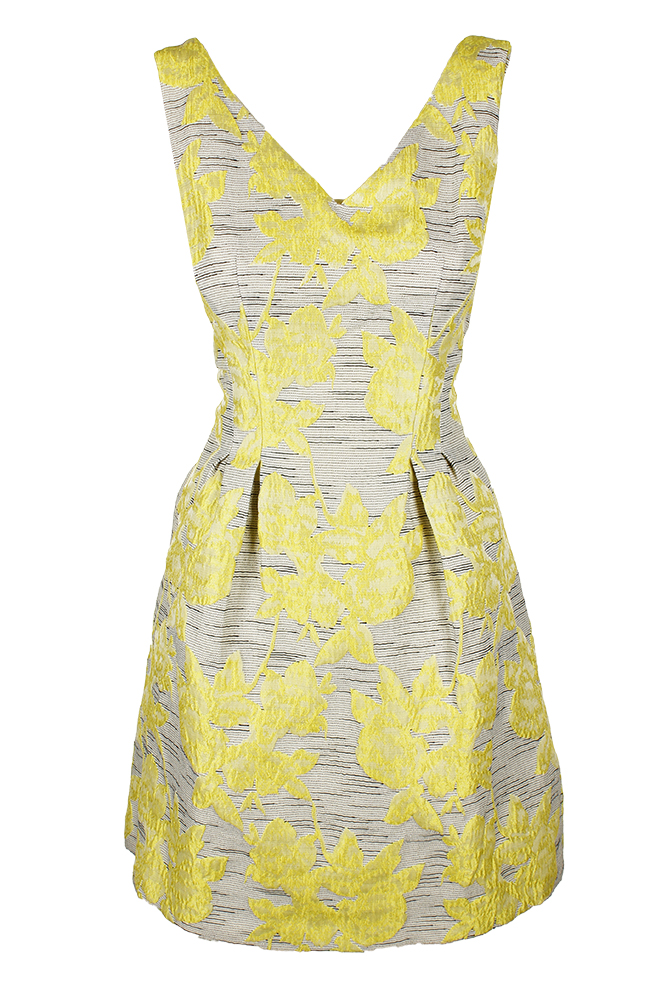 9e26065c7c66cb Donna Ricco Yellow Multi Sleeveless Printed Jacquard Fit & Flare Dress 10
