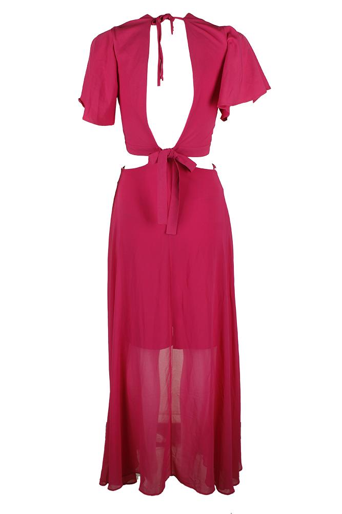d147144ff Xoxo Juniors Pink Short-Sleeve Cutout Maxi Dress XL 746194765430   eBay