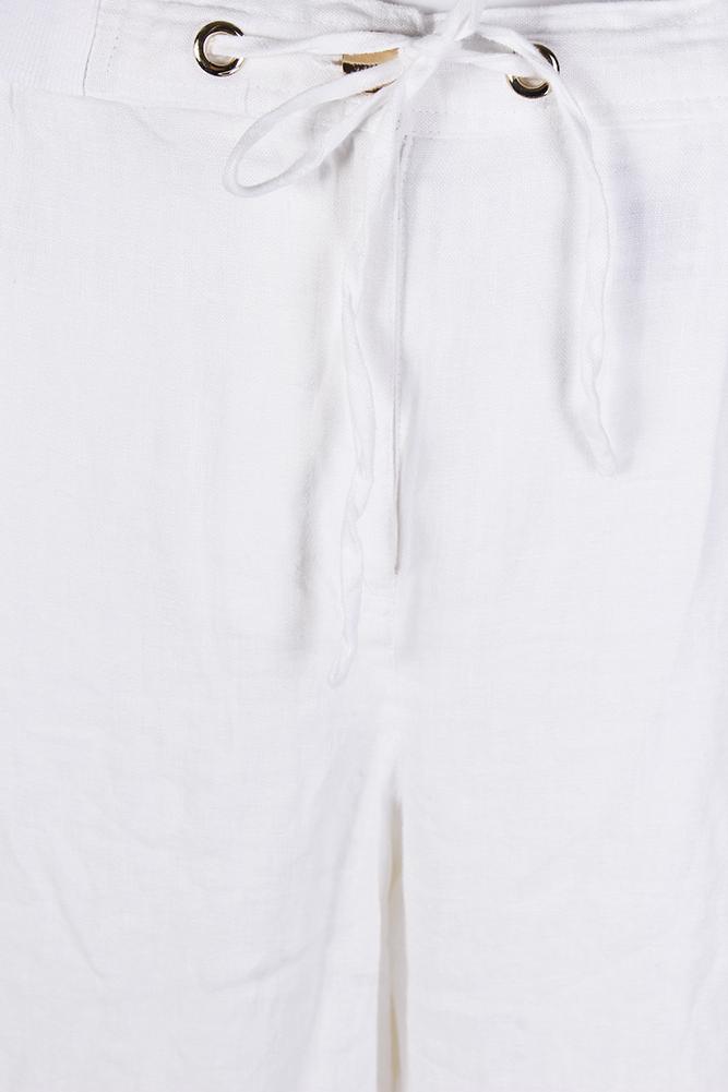 329cf14b63d Jm Collection Plus Size White Drawstring-Waist Linen Pants 14W ...