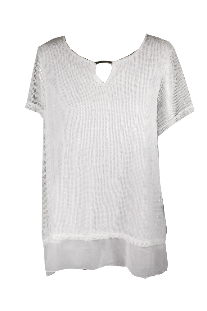e5b55a332ce Jm Collection Plus Size White Sheer-Sleeve Top 2X MSRP   64.5 ...