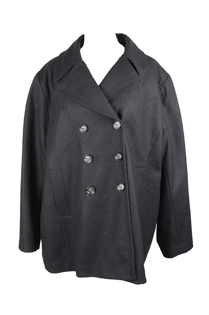 d32cb60e444 Kenneth Cole Plus Size Black Double-Breasted Peacoat 2X MSRP   250 ...