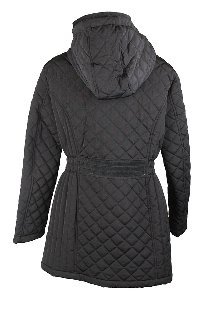 Laundry By Design Petite Black Hooded Quilted Jacket Pxs