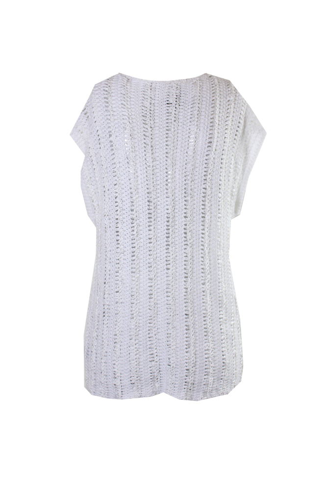 Lauren Ralph Lauren Bianco A Uncinetto Crochet Manica Ad Aletta