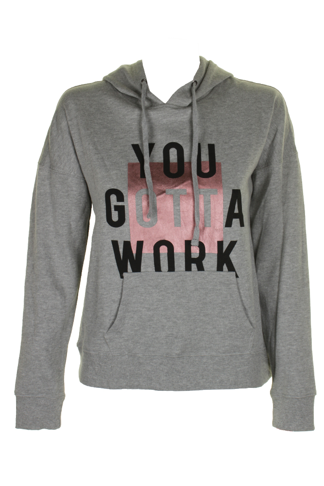 cddb0664db07a Material Girl Juniors Heather Platinum You Gotta Work Graphic Hoodie S MSRP   39