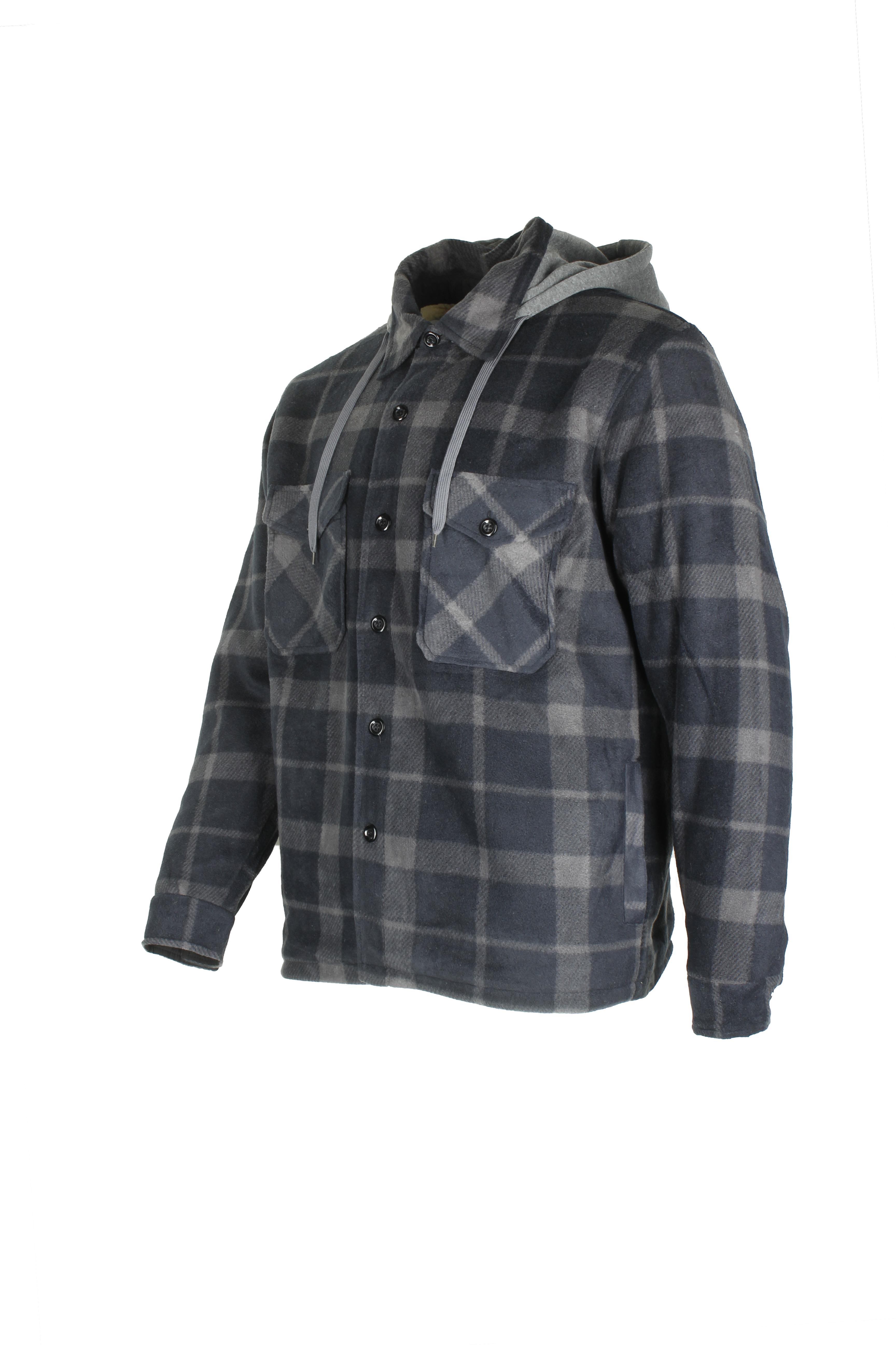 Maxxsel-Men-039-s-Sherpa-Lined-Plaid-Polar-Fleece-Flannel-Zip-Up-Hooded-Shirt-Jacket thumbnail 3