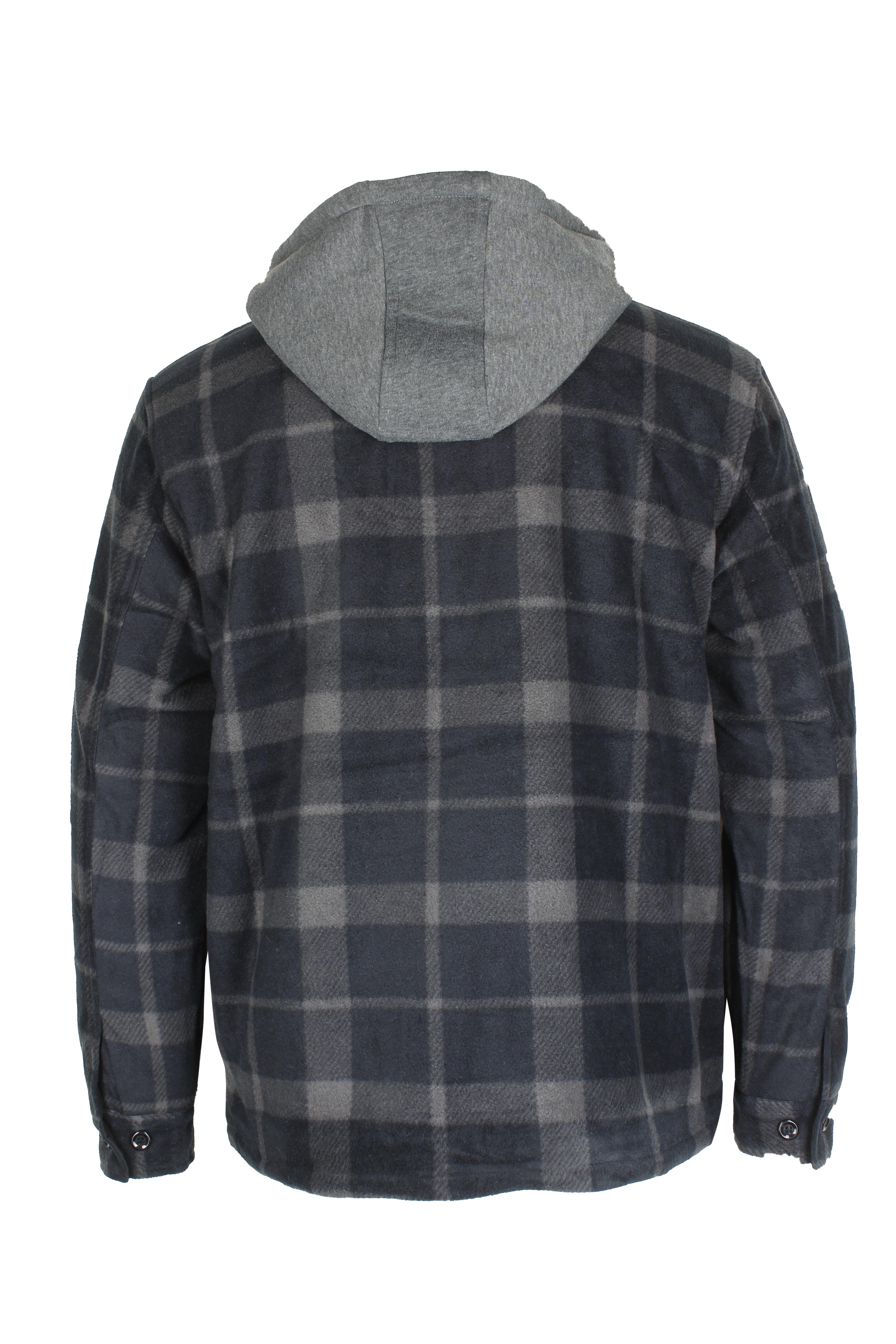 Maxxsel-Men-039-s-Sherpa-Lined-Plaid-Polar-Fleece-Flannel-Zip-Up-Hooded-Shirt-Jacket thumbnail 4