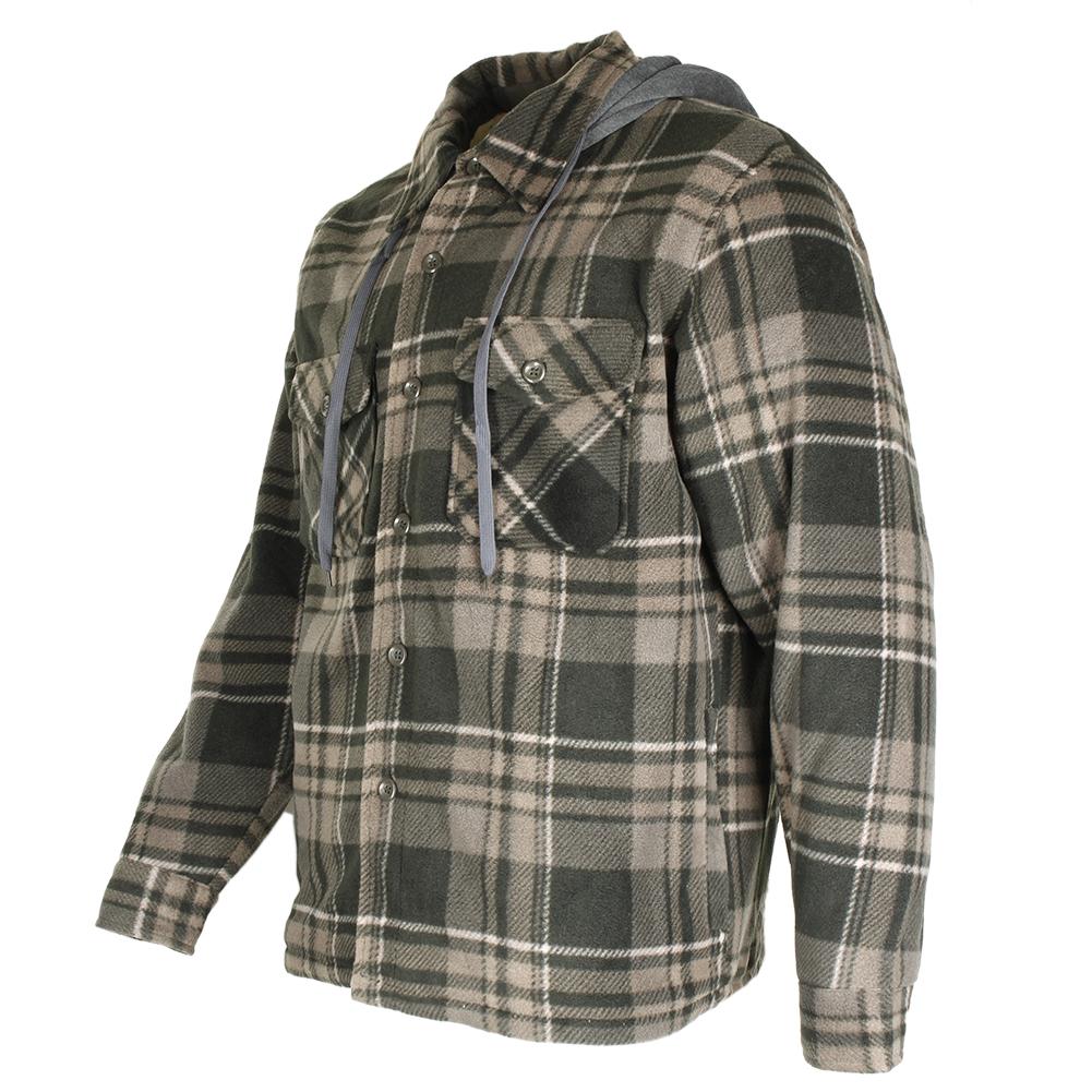 Maxxsel-Men-039-s-Sherpa-Lined-Plaid-Polar-Fleece-Flannel-Zip-Up-Hooded-Shirt-Jacket thumbnail 6