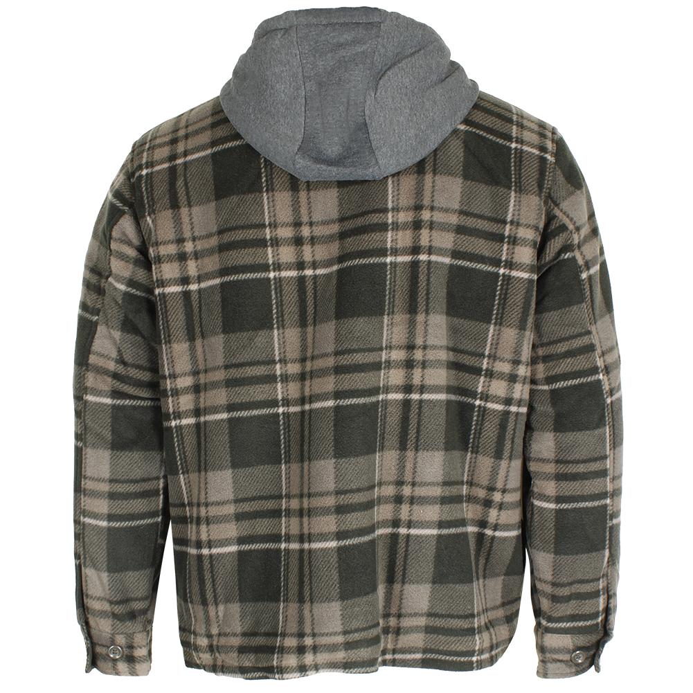 Maxxsel-Men-039-s-Sherpa-Lined-Plaid-Polar-Fleece-Flannel-Zip-Up-Hooded-Shirt-Jacket thumbnail 7