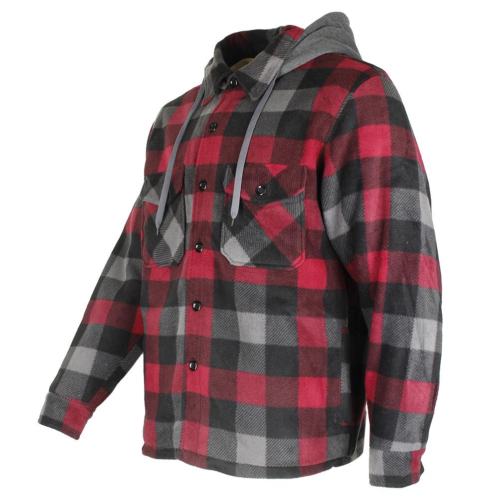 Maxxsel-Men-039-s-Sherpa-Lined-Plaid-Polar-Fleece-Flannel-Zip-Up-Hooded-Shirt-Jacket thumbnail 18