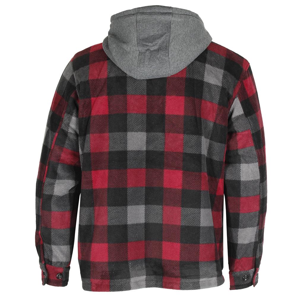 Maxxsel-Men-039-s-Sherpa-Lined-Plaid-Polar-Fleece-Flannel-Zip-Up-Hooded-Shirt-Jacket thumbnail 19