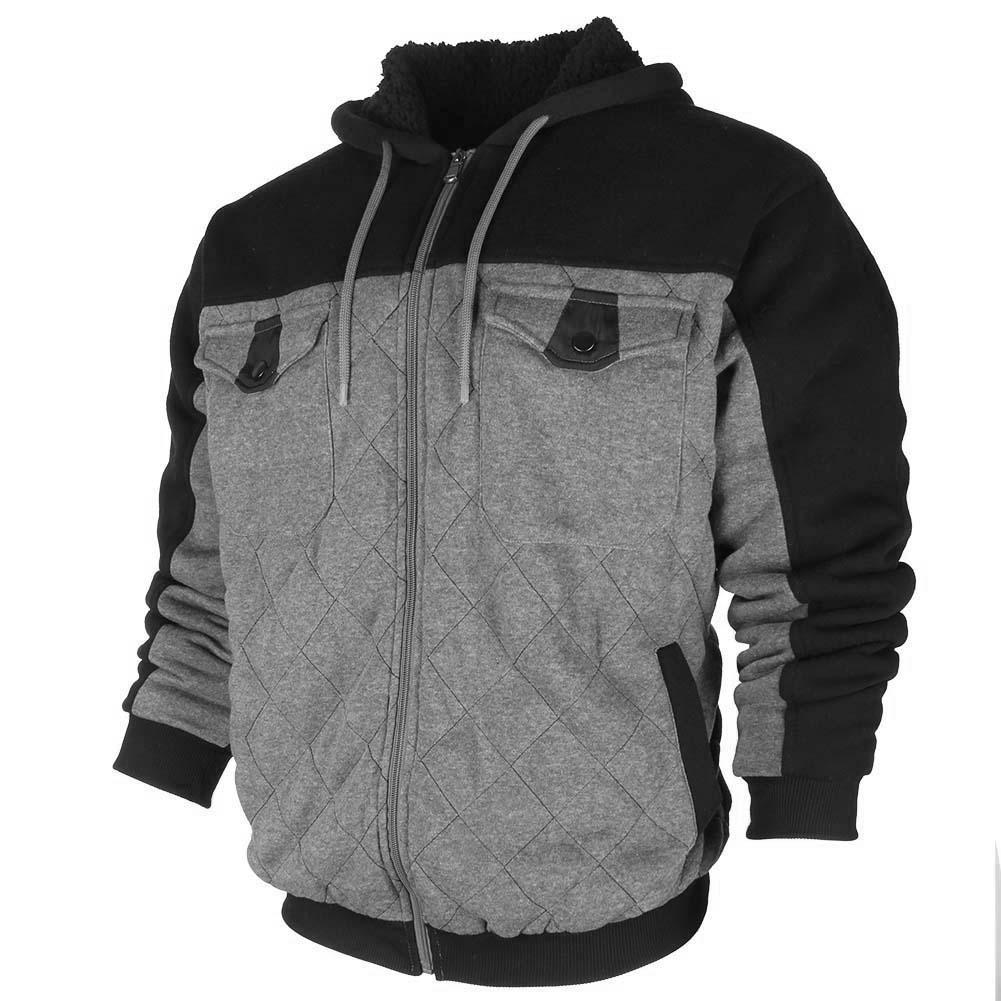 Original-Deluxe-Men-039-s-Sherpa-Lined-Pocket-Front-Zip-Up-Hoodie thumbnail 8