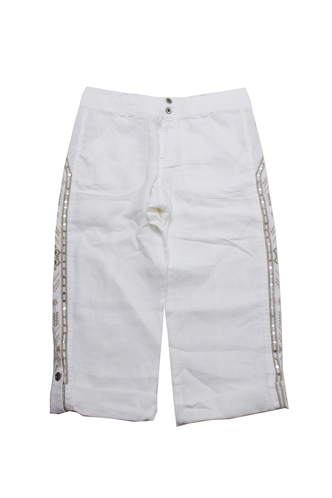18ca96f311e Inc International Concepts White Linen Embellished Cargo Pants 4 ...