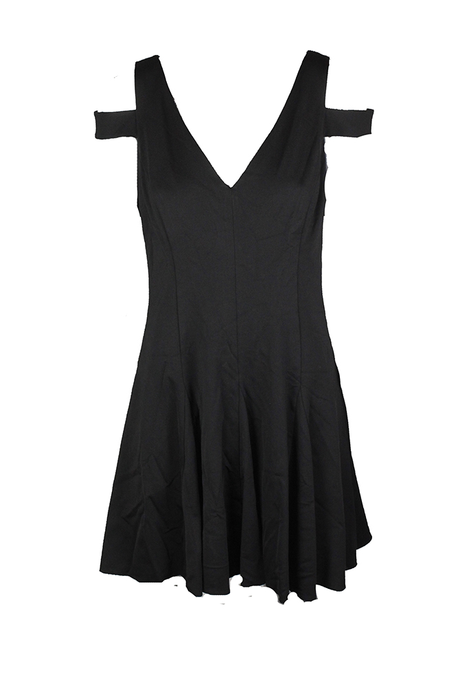 9fadea6136 Lauren Ralph Lauren Petite Black Cold-Shoulder V-Nec A-Line Dress ...