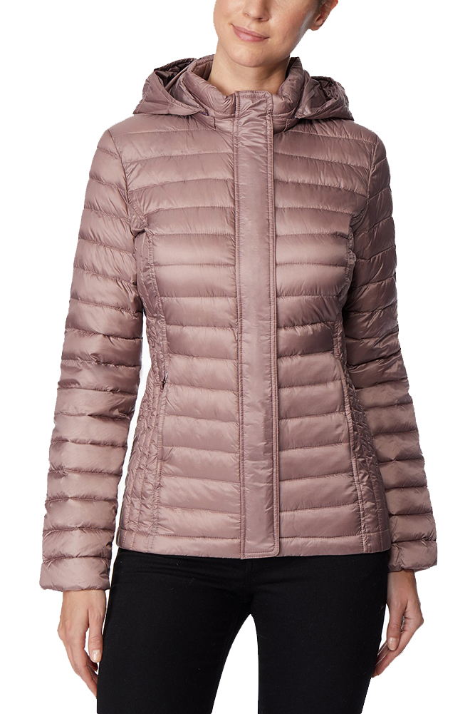 3025bc44168 32 Degrees Natural Blush Ultra Light Down Packable Hooded Puffer Coat S