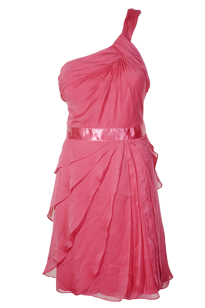 12415a4b9f Details about Adrianna Papell French Coral One-Shoulder Tiered Chiffon Dress  4