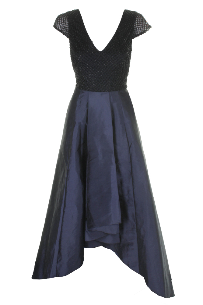 Adrianna Papell Navy Cap-Sleeve Geo-Beaded High-Low Gown 6