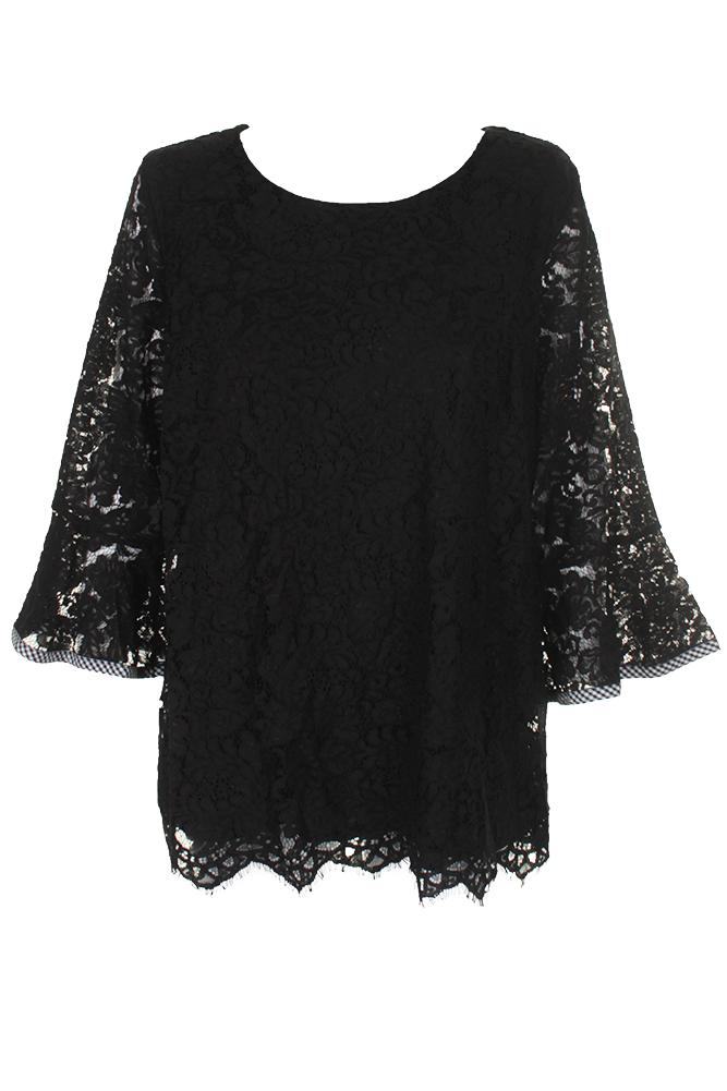 162692b1b9a Charter Club Plus Size Deep Black Lace Bell-Sleeve Top 2X ...
