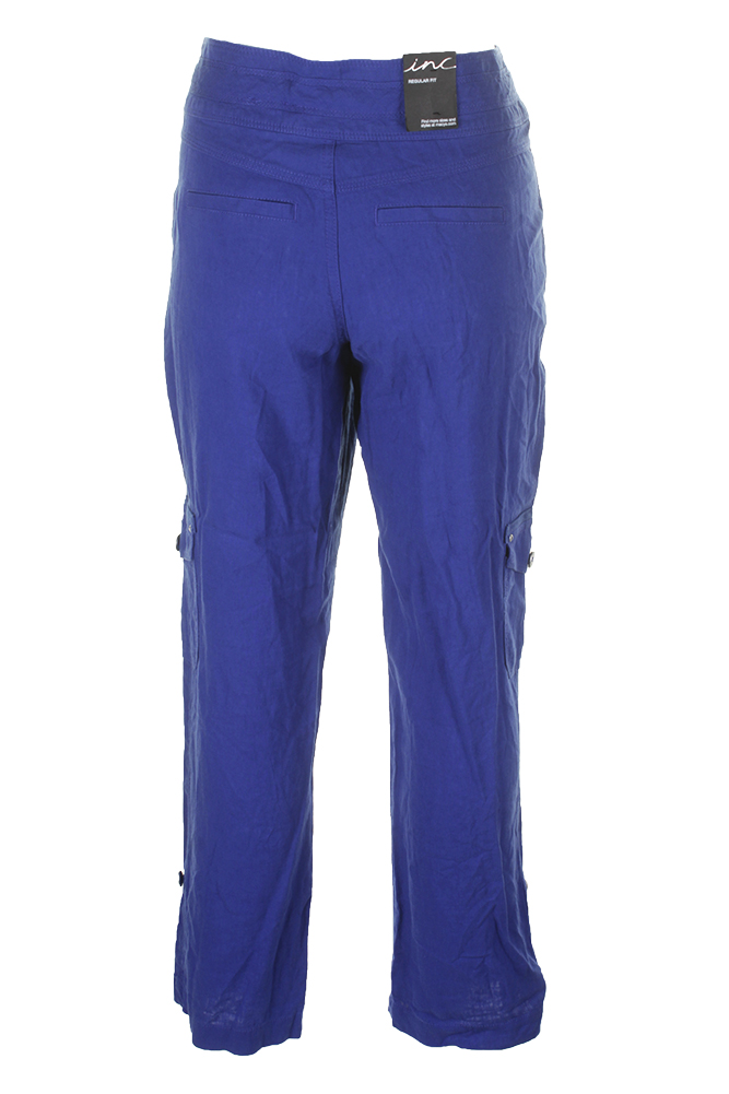 c272b32db70 Details about Inc International Concepts Blue Regular Fit Drawstring Linen  Blend Soft Pants 4
