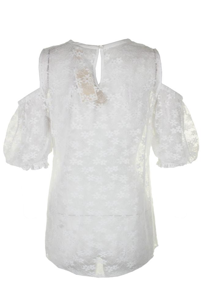 bd0ca85bdf41f Michael Michael Kors White Short-Sleeve Lace Cold-Shoulder Top M ...