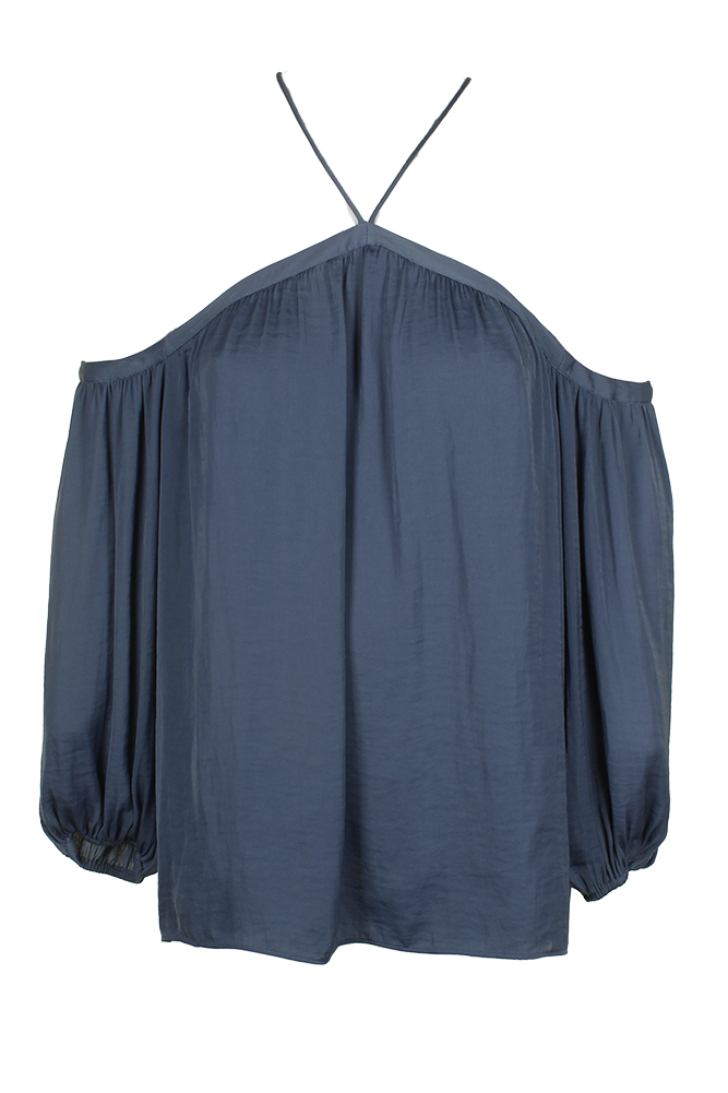0ff3f62187ed19 Vince Camuto China Blue 3 4-Sleeve Halter Peasant Top M 39377849639 ...
