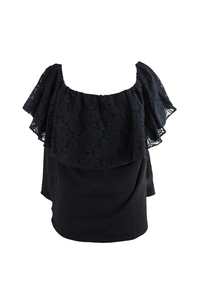 f55d47b0de1d0 Rachel Rachel Roy Plus Size Black Lace Off-The-Shoulder Top 3X ...