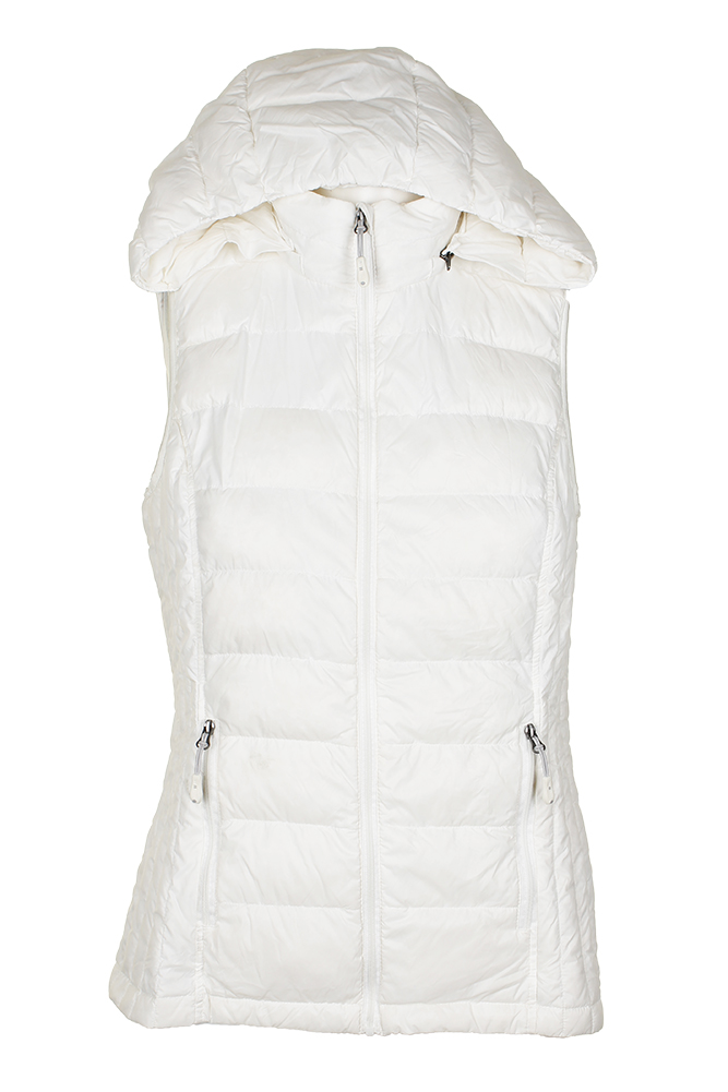 5558cbe10 Details about 32 Degrees White Ultra Light Down Hooded Packable Puffer Vest  S