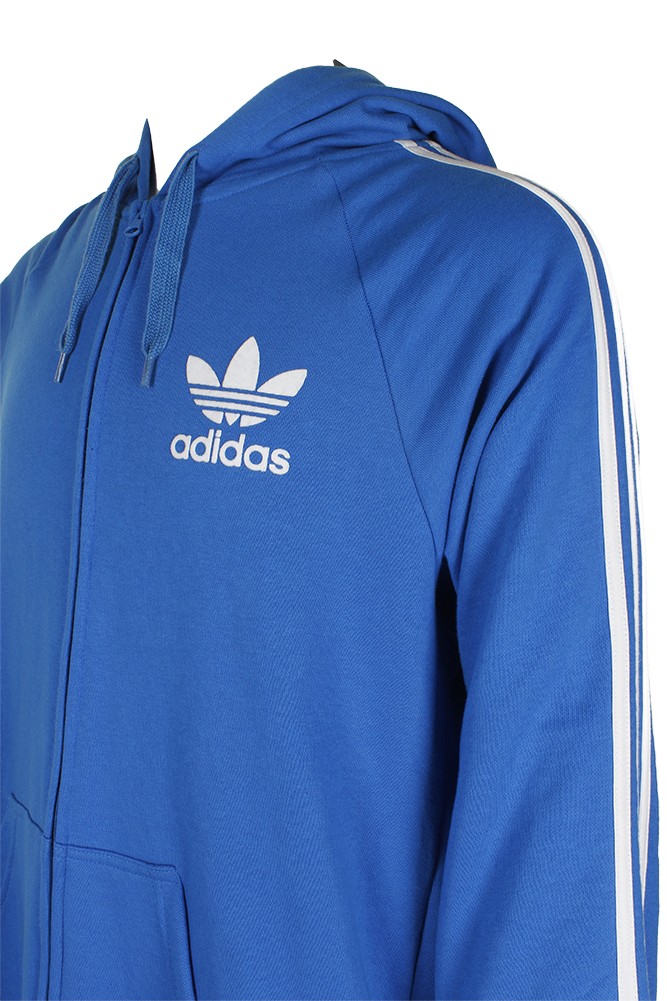 Adidas-Men-039-s-Trefoil-Logo-3-Stripe-Front-Pocket-Full-Zip-Hoodie thumbnail 5