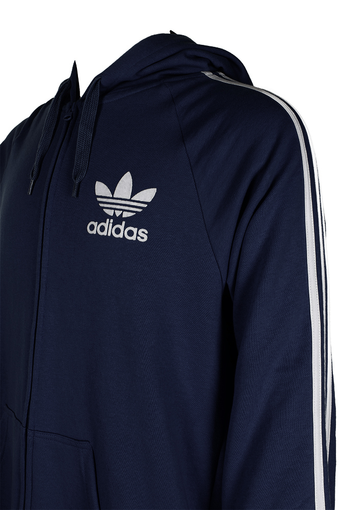 Adidas-Men-039-s-Trefoil-Logo-3-Stripe-Front-Pocket-Full-Zip-Hoodie thumbnail 8