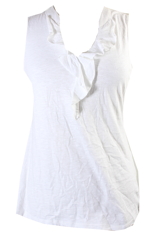 afced1084b74c5 Charter Club Bright White Sleeveless Ruffle-Front Knit T-Shirt S MSRP   44.5