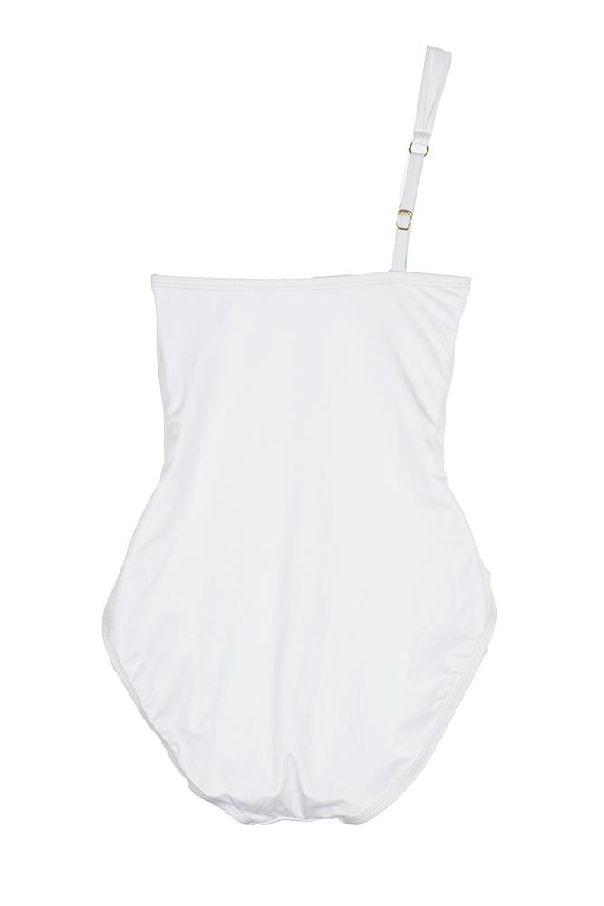 fc6958c633 Kenneth Cole New York White Embellished One-Shoulder Tummy Toner Swimsuit M