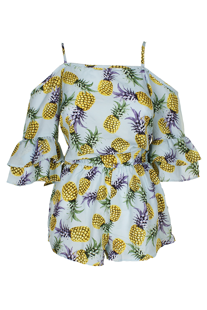 201ad260e4 Miken Swim Mint Yellow Pineapple-Print Cold-Shoulder Romper Cover-Up ...