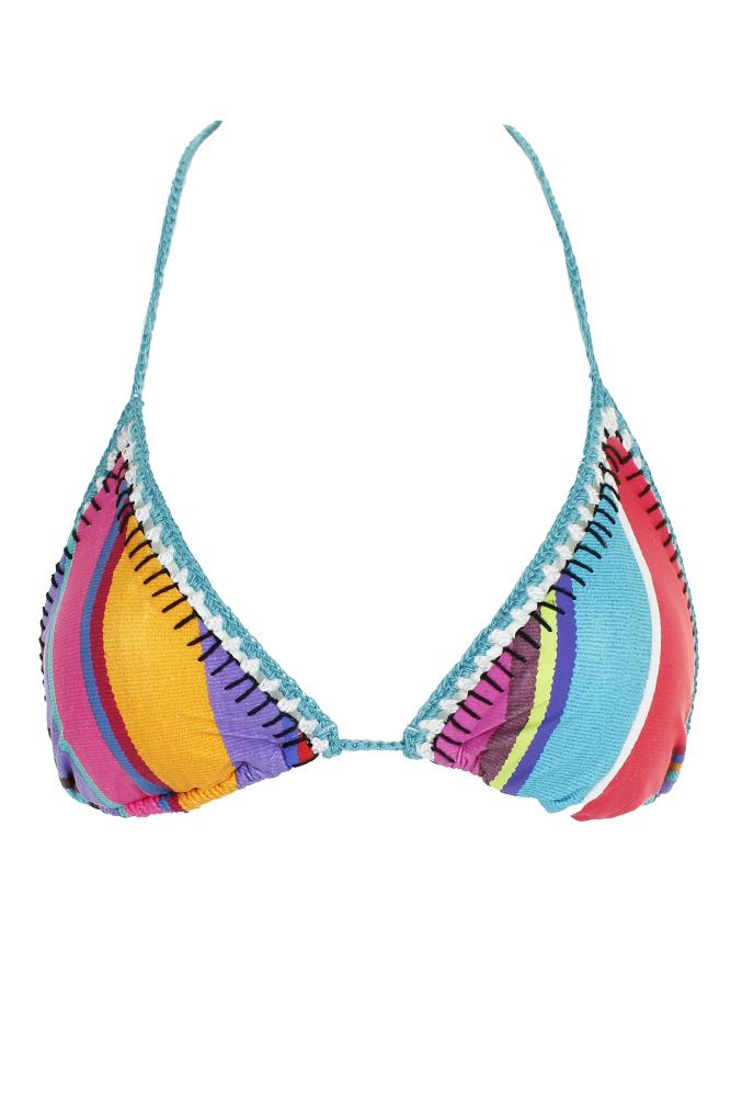 71d55ecc80 Nanette Lepore Blue Multi Sayulita Serape Striped Triangle Bikini Top XS