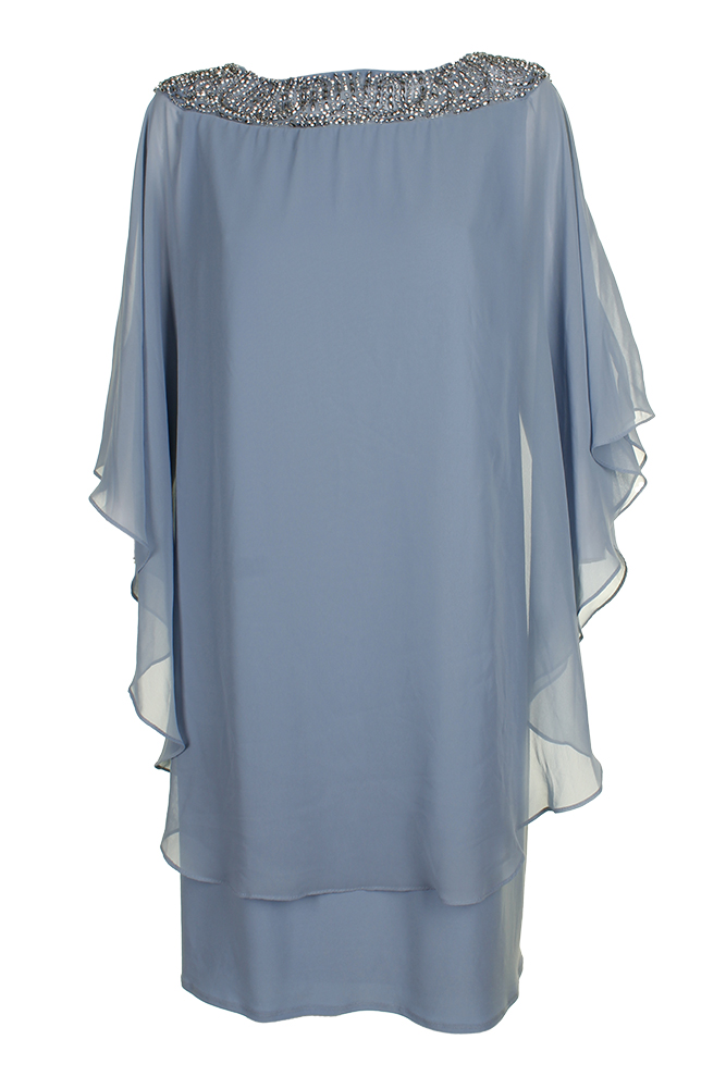 a5d779e2eed0 Xscape Plus Size Light Blue Beaded Chiffon Cape Shift Dress 22W ...