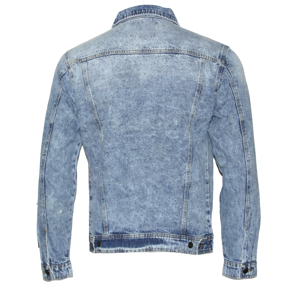 thumbnail 6 - Mens Denim Jean Jacket Faded Premium Cotton Button Up Slim Fit  Red Label