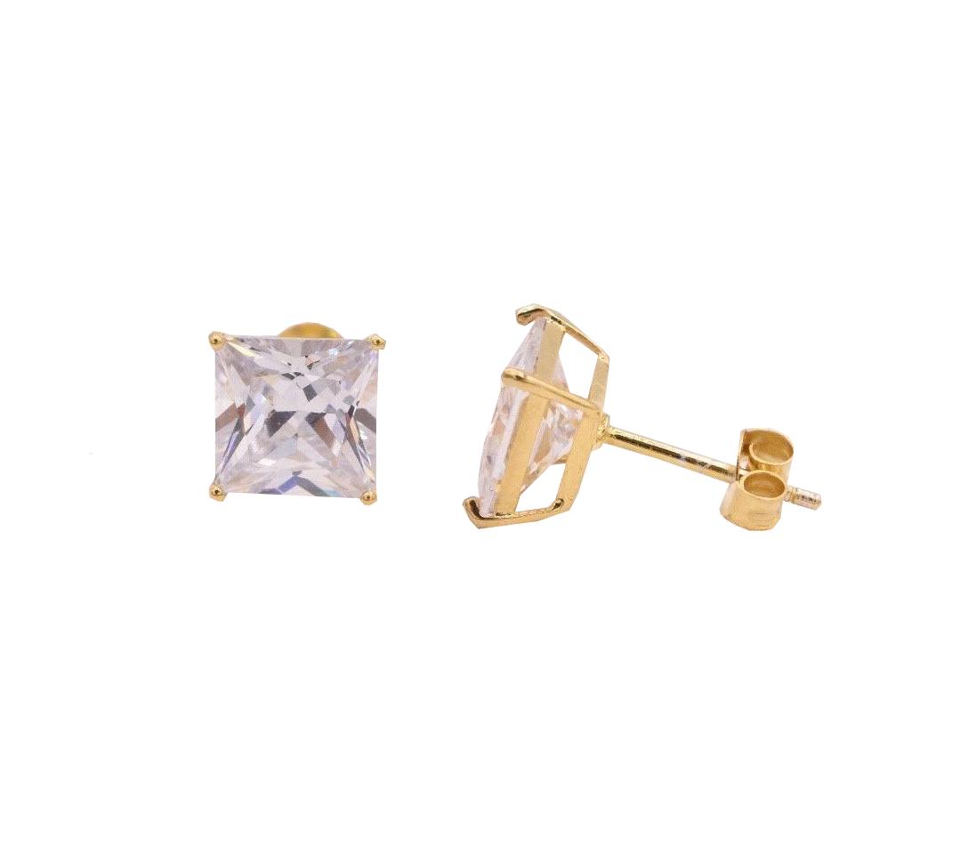 14K-Gold-Princess-Cut-CZ-Stud-Earrings-in-Basket-Setting