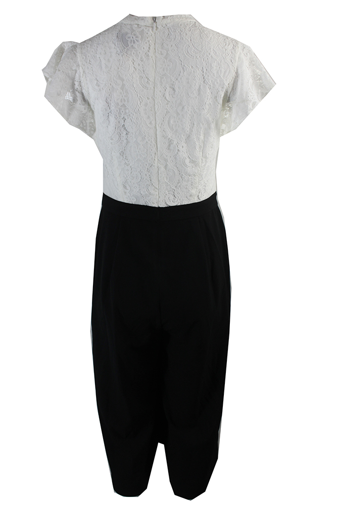 961ec88ec0be Jessica Simpson Black White Lace Top Cropped Jumpsuit 8 190734544076 ...