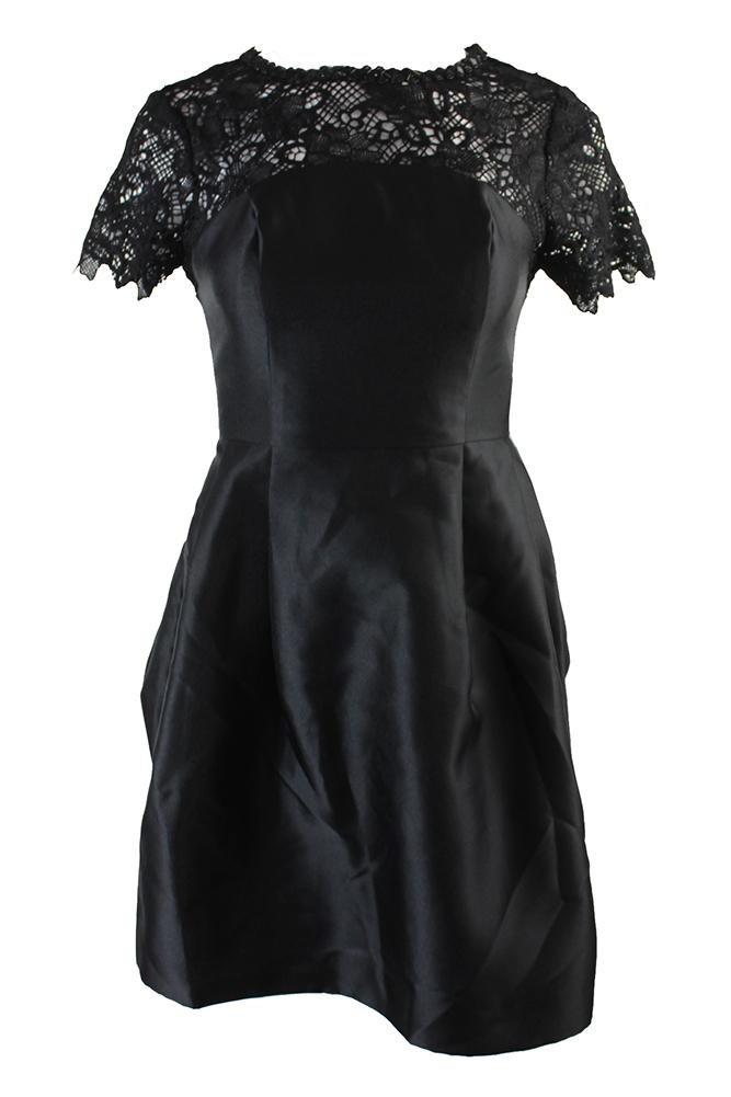 00b5c1e9ef5 Jessica Simpson Black Short-Sleeve Embellished Lace-Yoke Fit   Flare Dress 2