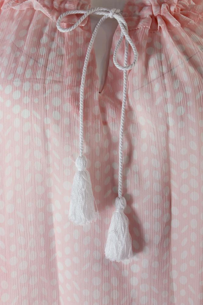 a319a34b3c9cb Tommy Hilfiger Sheer Ballet Pink Ivory Cold-Shoulder Blouse S ...