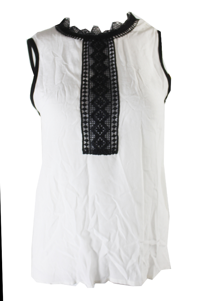 a21bb973ce421 Yyigal White Black Lace-Trim Sleeveless Blouse XL 840723184256