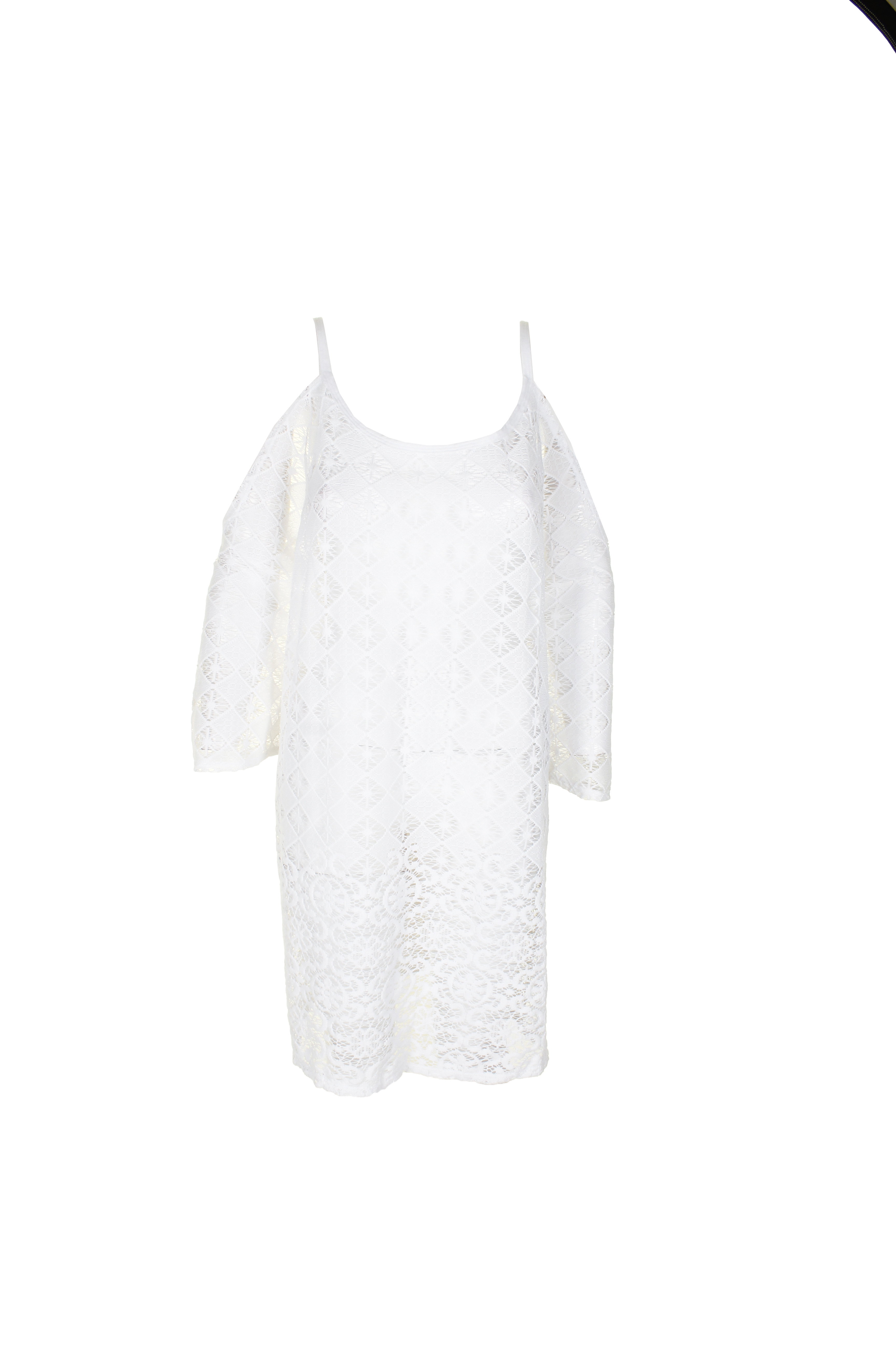 d1a42e79f52 Dotti Plus Size White Boho Lace Crochet Sheer Cold-Shoulder Tunic Cover-Up  3X