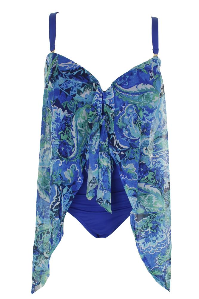 129f4e28e3fe2 Lauren Ralph Lauren Plus Size Blue Tummy Control Strapless Flyaway Swimsuit  22W
