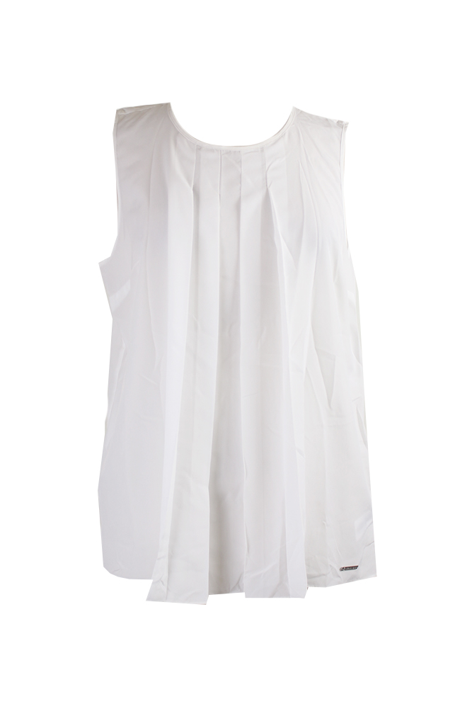 1dc74f7103a6a Michael Michael Kors White Sleeveless Pleated Neck Blouse L ...