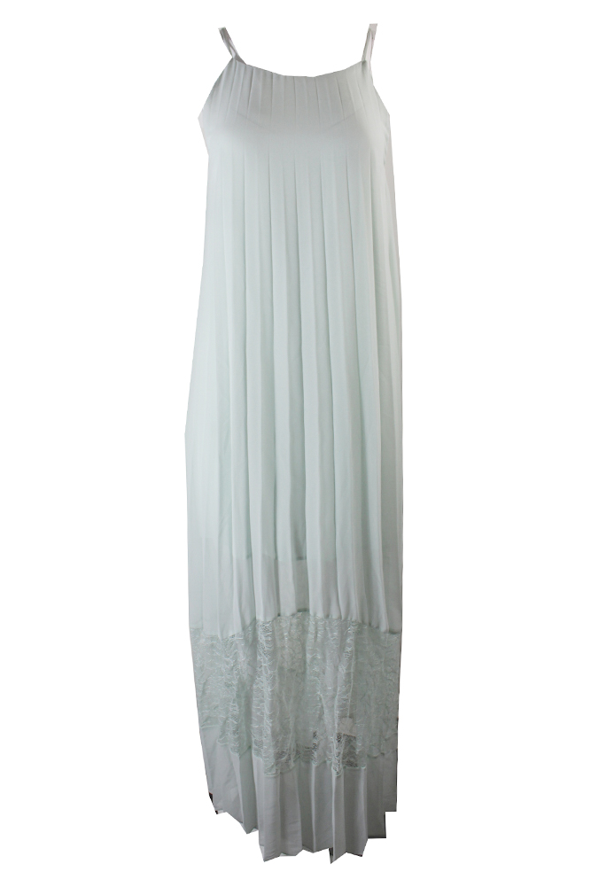 Bcbgeneration Mint Green Pleated Lace Maxi Dress S
