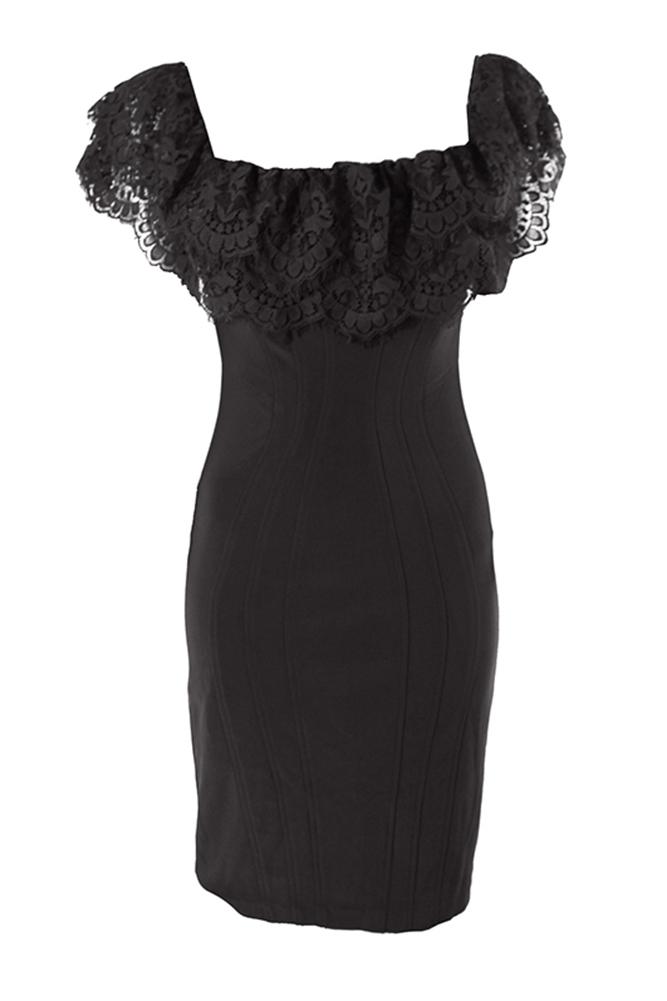 ebb795a43b3b Details about Betsy Adam Black Lace Trim Off-The-Shoulder Sheath Dress 8  MSRP   249