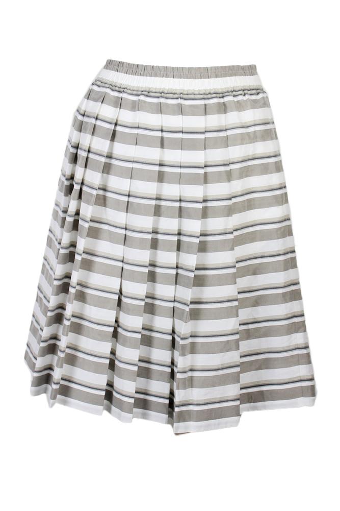 2ff97ede341 Maxmara White Gray Multi Striped Pleated Skirt 8 757538619296