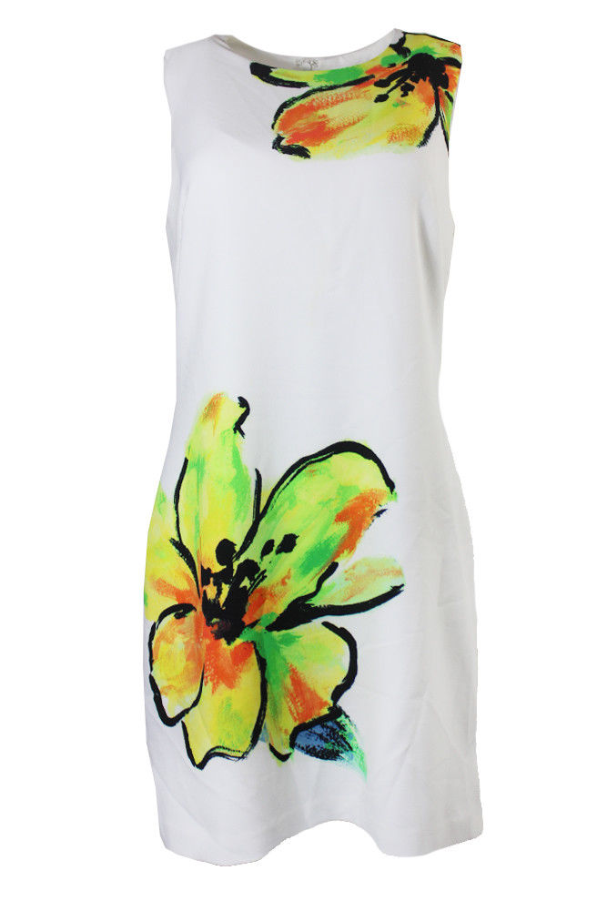 f4a449d7 Lauren Ralph Lauren White Yellow Sleeveless Floral-Print Sheath Dress 0P