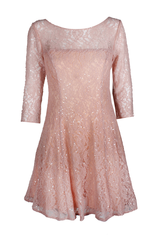 7c8510d0e6 Slny Faded Rose 3 4-Sleeve Sequined Lace Fit   Flare Dress 8